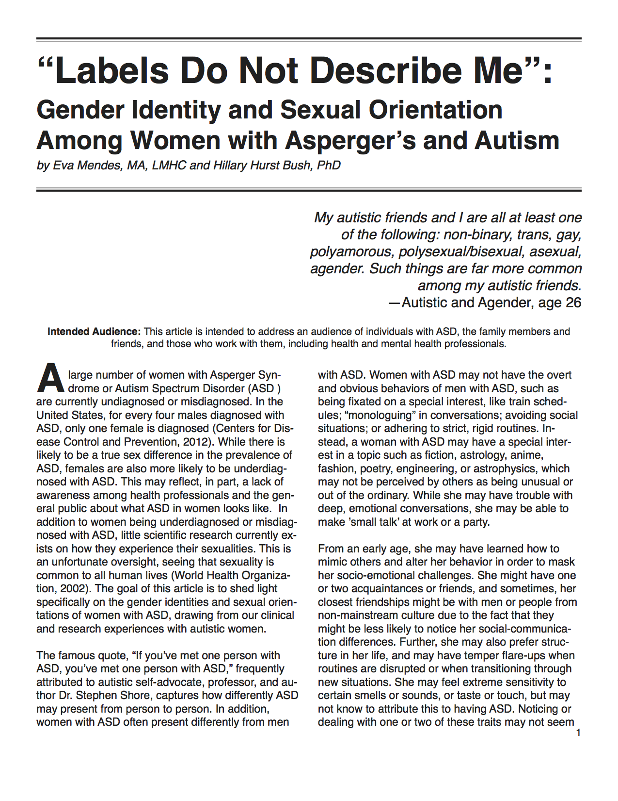Eva Mendes and Hillary Hurst Bush paper on gender identity and sexual orientation for women with Asperger's and autism spectrum disorder